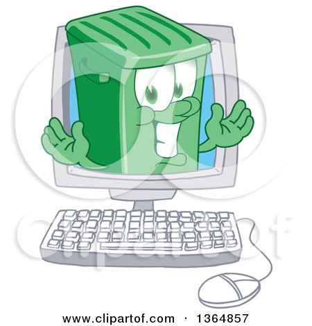 Clipart of a Cartoon Green Rolling Trash Can Bin Mascot Emerging from a Desktop Computer Screen - Royalty Free Vector Illustration by Toons4Biz