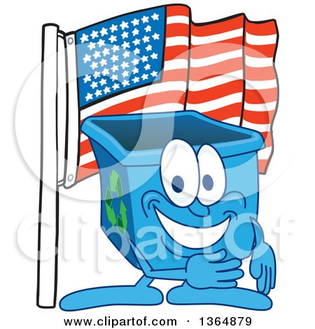 Clipart of a Cartoon Blue Recycle Bin Mascot Pledging Allegiance to the American Flag - Royalty Free Vector Illustration by Toons4Biz
