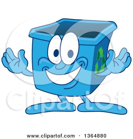 Clipart of a Cartoon Blue Recycle Bin Mascot Welcoming - Royalty Free Vector Illustration by Toons4Biz