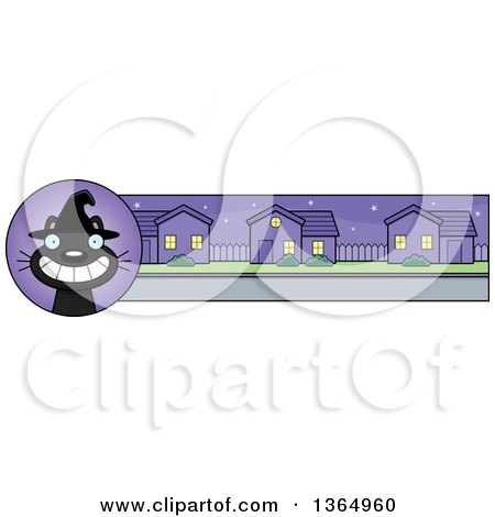 Clipart of a Grinning Black Halloween Witch Cat Banner or Border - Royalty Free Vector Illustration by Cory Thoman