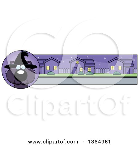 Clipart of a Black Halloween Witch Cat Banner or Border - Royalty Free Vector Illustration by Cory Thoman