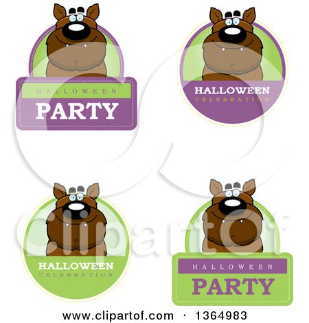 Clipart of Halloween Werewolf Badges - Royalty Free Vector Illustration by Cory Thoman