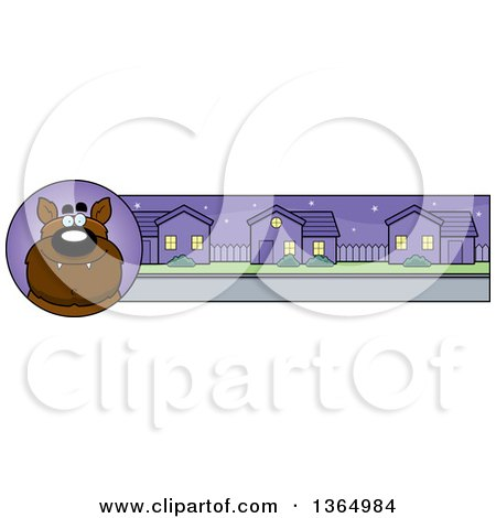 Clipart of a Halloween Werewolf Banner or Border - Royalty Free Vector Illustration by Cory Thoman