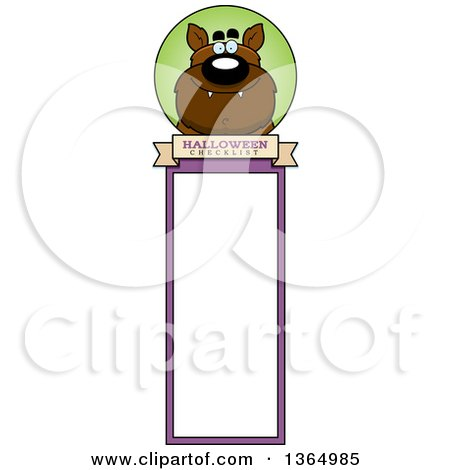 Clipart of a Halloween Werewolf Bookmark - Royalty Free Vector Illustration by Cory Thoman
