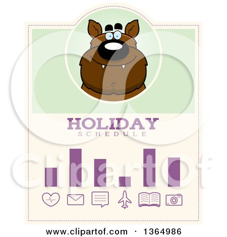 Clipart of a Halloween Werewolf Holiday Schedule Design - Royalty Free Vector Illustration by Cory Thoman