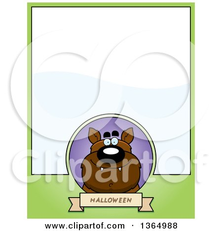 Clipart of a Halloween Werewolf Page Design with Text Space on Green - Royalty Free Vector Illustration by Cory Thoman