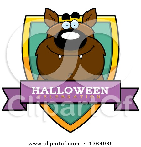 Clipart of a Halloween Werewolf Halloween Celebration Shield - Royalty Free Vector Illustration by Cory Thoman