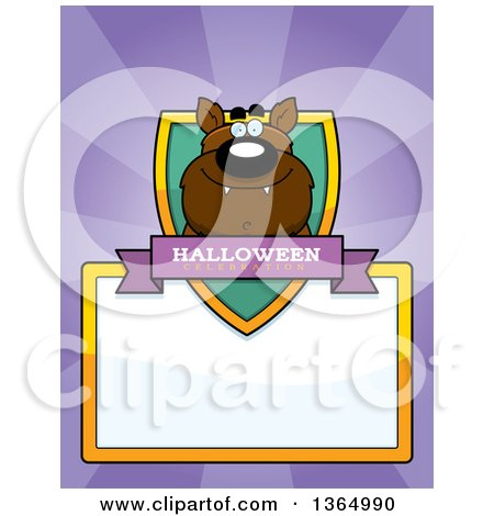 Clipart of a Halloween Werewolf Shield over a Blank Sign and Rays - Royalty Free Vector Illustration by Cory Thoman