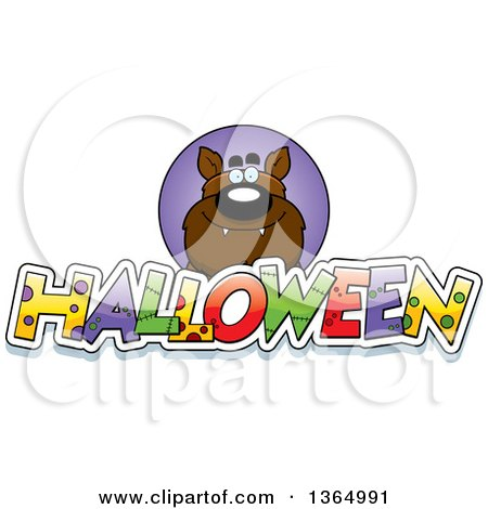 Clipart of a Werewolf over Halloween Text - Royalty Free Vector Illustration by Cory Thoman