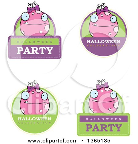 Clipart of Pink Girly Halloween Monster Badges - Royalty ...