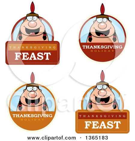 Clipart of Thanksgiving Native American Indian Man Badges - Royalty Free Vector Illustration by Cory Thoman
