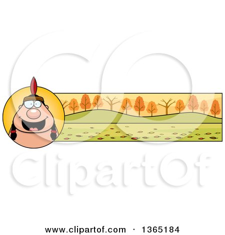Clipart of a Thanksgiving Native American Indian Man Banner or Border - Royalty Free Vector Illustration by Cory Thoman