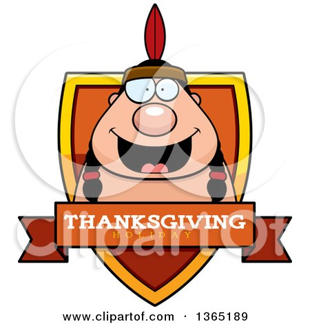 Clipart of a Thanksgiving Native American Indian Man Thanksgiving Holiday Shield - Royalty Free Vector Illustration by Cory Thoman