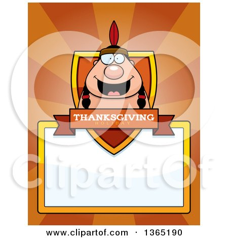 Clipart of a Thanksgiving Native American Indian Man Shield over a Blank Sign and Rays - Royalty Free Vector Illustration by Cory Thoman