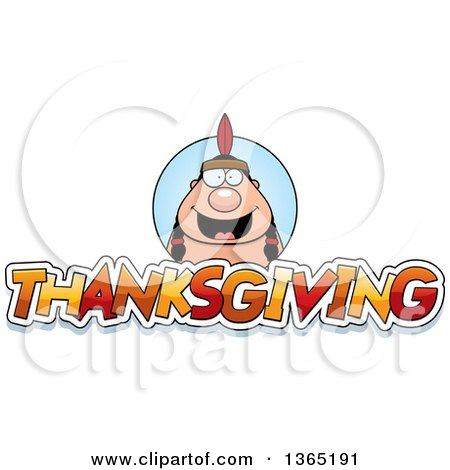 Clipart of a Native American Indian Man over Thanksgiving Text - Royalty Free Vector Illustration by Cory Thoman
