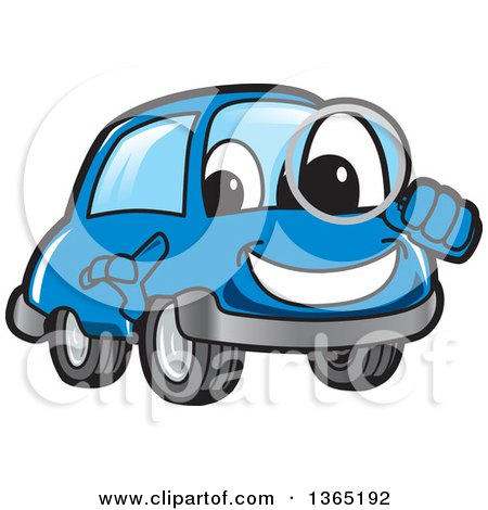 Clipart of a Happy Blue Car Mascot Searching with a Magnifying Glass - Royalty Free Vector Illustration by Toons4Biz