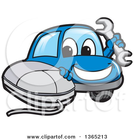 Clipart of a Happy Blue Car Mascot Holding a Wrench by a Computer Mouse - Royalty Free Vector Illustration by Toons4Biz