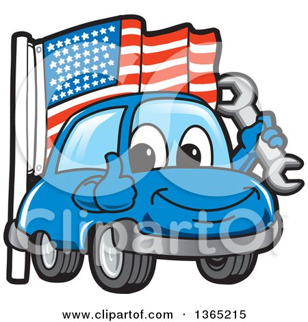 Clipart of a Happy Blue Car Mascot Holding a Wrench and Giving a Thumb up by an American Flag - Royalty Free Vector Illustration by Toons4Biz