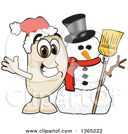 Clipart of a Navy Bean Mascot Character with a Christmas Snowman - Royalty Free Vector Illustration by Toons4Biz