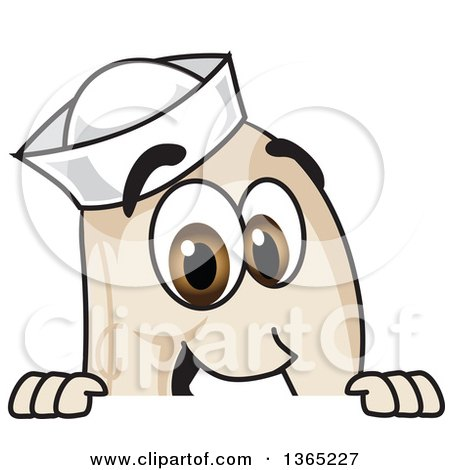 Clipart of a Navy Bean Mascot Character Looking over a Sign - Royalty Free Vector Illustration by Toons4Biz