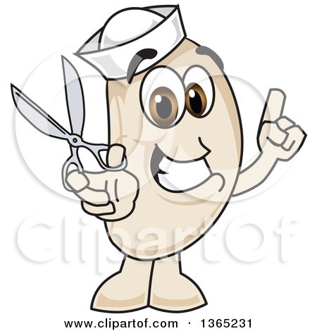 Clipart of a Navy Bean Mascot Character Holding up a Finger and Scissors - Royalty Free Vector Illustration by Toons4Biz
