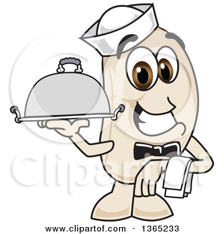 Clipart of a Navy Bean Mascot Character Waiter Holding a Cloche Platter - Royalty Free Vector Illustration by Toons4Biz