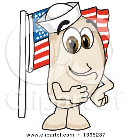 Clipart of a Navy Bean Mascot Character Pledging Allegiance to the American Flag - Royalty Free Vector Illustration by Toons4Biz