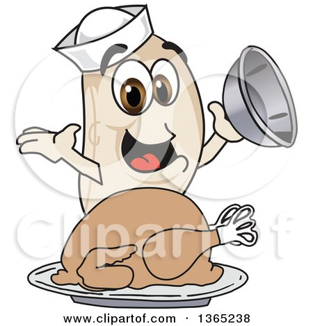 Clipart of a Navy Bean Mascot Character Serving a Roasted Thanksgiving Turkey - Royalty Free Vector Illustration by Toons4Biz