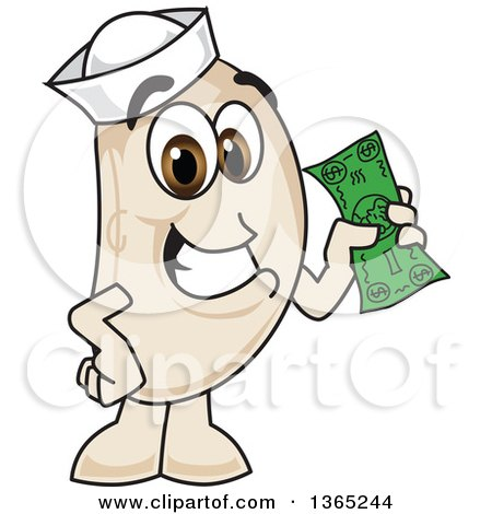 Clipart of a Navy Bean Mascot Character Holding Cash - Royalty Free Vector Illustration by Toons4Biz
