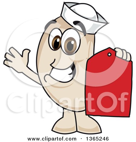 Clipart of a Navy Bean Mascot Character Holding a Price Tag - Royalty Free Vector Illustration by Toons4Biz