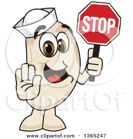 Clipart of a Navy Bean Mascot Character Gesturing and Holding a Stop Sign - Royalty Free Vector Illustration by Toons4Biz
