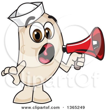 Clipart of a Navy Bean Mascot Character Screaming into a Megaphone - Royalty Free Vector Illustration by Toons4Biz