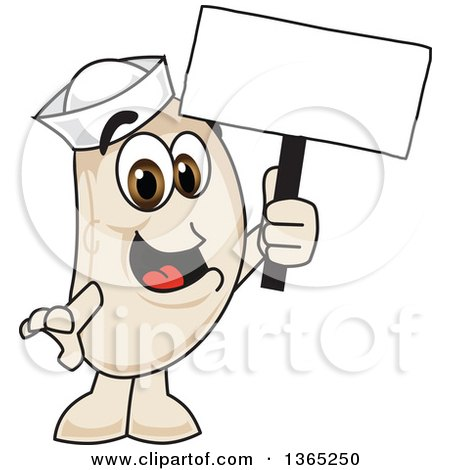 Clipart of a Navy Bean Mascot Character Holding a Blank Sign - Royalty Free Vector Illustration by Toons4Biz