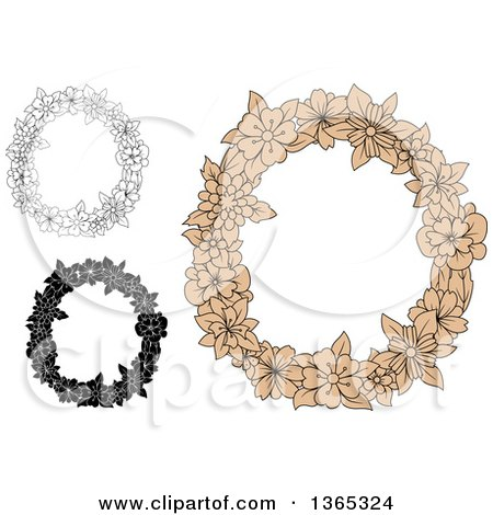 Clipart of Floral Uppercase Alphabet Letter O Designs - Royalty Free Vector Illustration by Vector Tradition SM