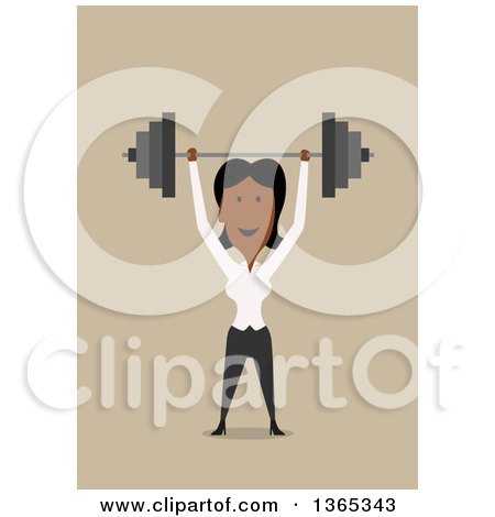 Clipart of a Flat Design Black Businesswoman Holding up a Barbell, on Tan - Royalty Free Vector Illustration by Vector Tradition SM