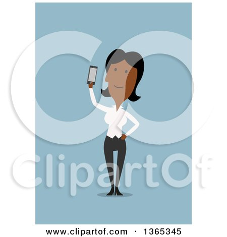 Clipart of a Flat Design Black Businesswoman Holding up a Smart Phone, on Blue - Royalty Free Vector Illustration by Vector Tradition SM
