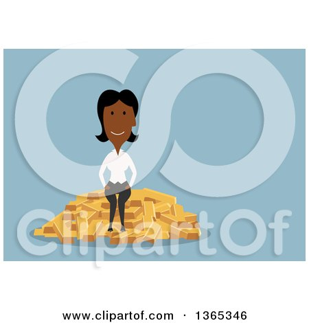 Clipart of a Flat Design Black Businesswoman Sitting on Gold Bars, on Blue - Royalty Free Vector Illustration by Vector Tradition SM