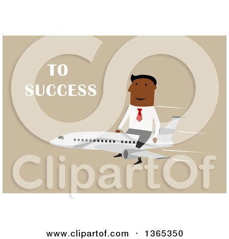 Clipart of a Flat Design Black Businessman Riding on Top of a Plane to Success, on Tan - Royalty Free Vector Illustration by Vector Tradition SM