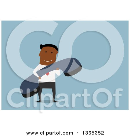 Clipart of a Flat Design Black Businessman Holding a Giant Telephone Receiver, on Blue - Royalty Free Vector Illustration by Vector Tradition SM