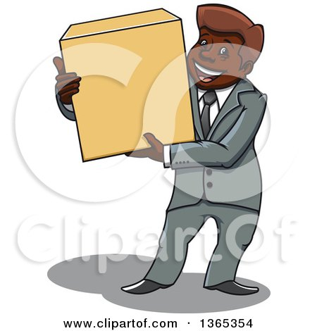 Clipart of a Cartoon Black Business Man Holding a Box - Royalty Free Vector Illustration by Vector Tradition SM