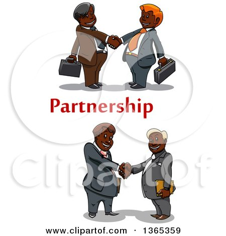 Clipart of Cartoon Black Business Men Shaking Hands with Partnership Text - Royalty Free Vector Illustration by Vector Tradition SM