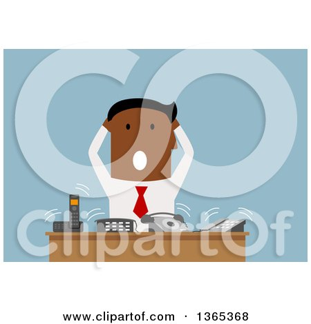 Clipart of a Flat Design Black Businessman Stressing out at a Desk of Ringing Phones, on Blue - Royalty Free Vector Illustration by Vector Tradition SM