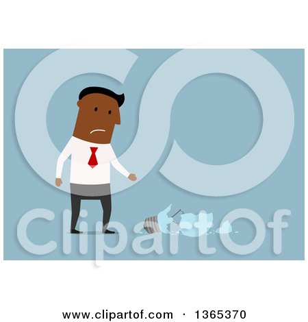 Clipart of a Flat Design Black Businessman with a Shattered Light Bulb, on Blue - Royalty Free Vector Illustration by Vector Tradition SM
