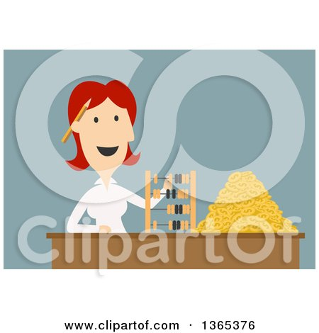 Clipart of a Flat Design White Businesswoman Counting Coins and Using an Abacus, on Blue - Royalty Free Vector Illustration by Vector Tradition SM