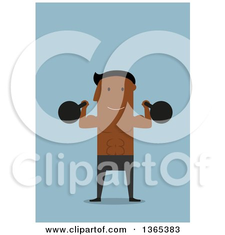 Clipart of a Flat Design Black Man Working out with Kettlebells, on Blue - Royalty Free Vector Illustration by Vector Tradition SM
