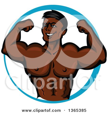 Clipart of a silhouetted flexing male bodybuilder in a - Cartoon body builder ...