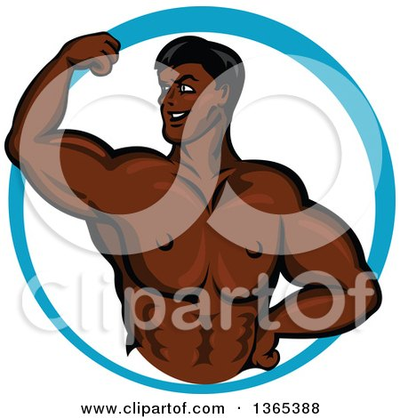 Clipart of a Cartoon Strong Black Male Bodybuilder Flexing His Muscles in a Blue Circle - Royalty Free Vector Illustration by Vector Tradition SM