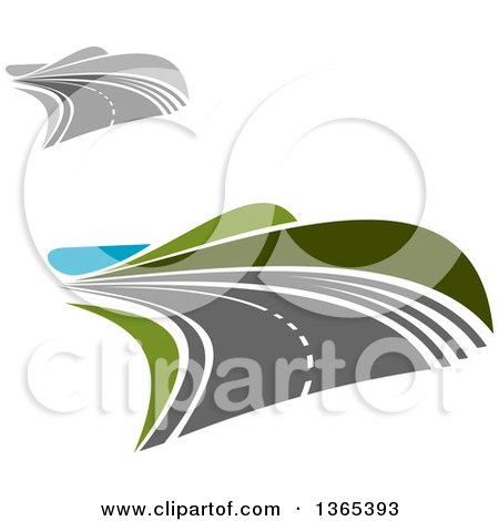 Clipart of Curving Two Lane Roads - Royalty Free Vector Illustration by Vector Tradition SM