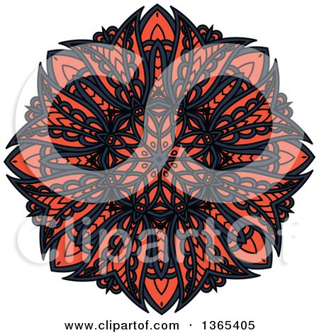 Clipart of a Navy Blue and Salmon Pink Kaleidoscope Flower Design - Royalty Free Vector Illustration by Vector Tradition SM