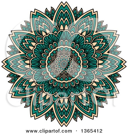 Clipart of a Turquoise and Beige Kaleidoscope Flower Design - Royalty Free Vector Illustration by Vector Tradition SM